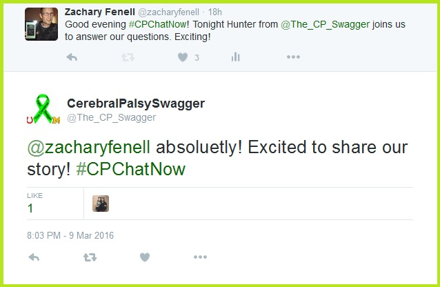 Excitement for March 9th's Focus Chat proved a mutual feeling shared by both Cerebral Palsy Swagger and #CPChatNow.