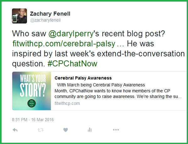 Last week's extend-the-conversation question inspired Fit with CP blogger Daryl Perry to write his own post about cerebral palsy awareness.