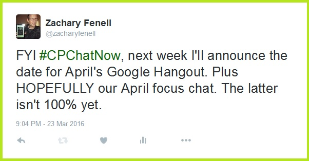 Next week I will announce our April Google Hangout details and maybe more!