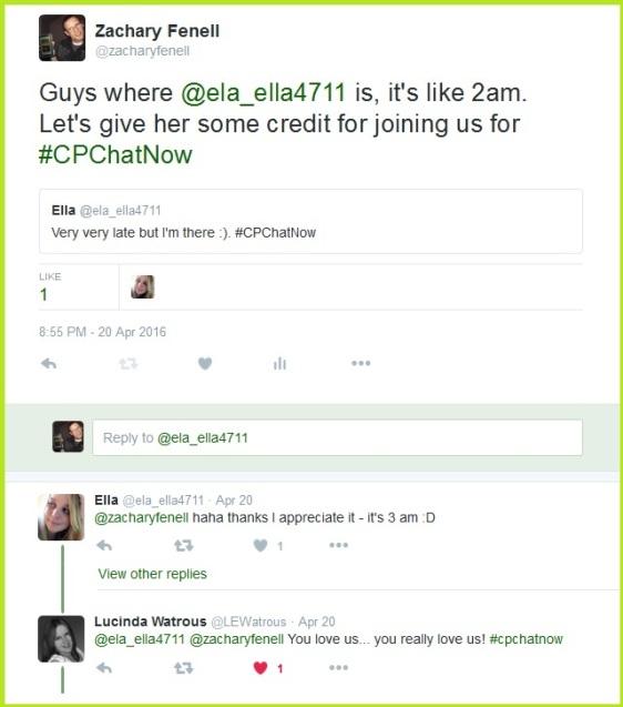 Ela joins in #CPChatNow at 3am!