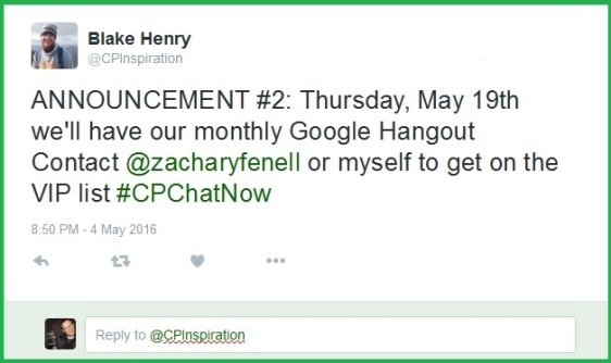 CPChatNow's next video chat will be held Thursday, May 19th via Google Hangouts.