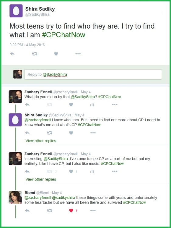 The various ages of #CPChatNow participants lets the younger participants know life with cerebral palsy gets better.