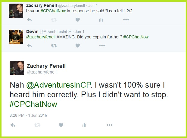 Devin asks if I used the cerebral palsy or drunk confusion as a teachable moment.