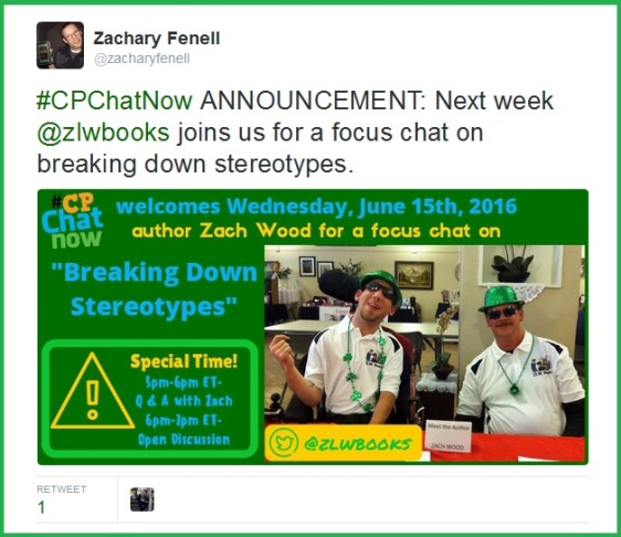 #CPChatNow co-host Zachary Fenell announces Zach Wood will lead a focus chat on breaking down stereotypes Wednesday, June 15th.
