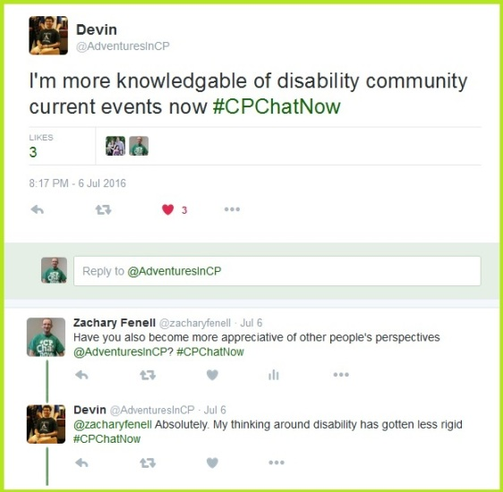#CPChatNow has helped keep Devin informed about current events in the disability community.