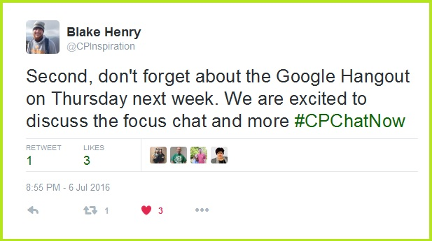 #CPChatNow participants will video chat via Google Hangouts Thursday, July 14th. The chat begins at 8pm ET!