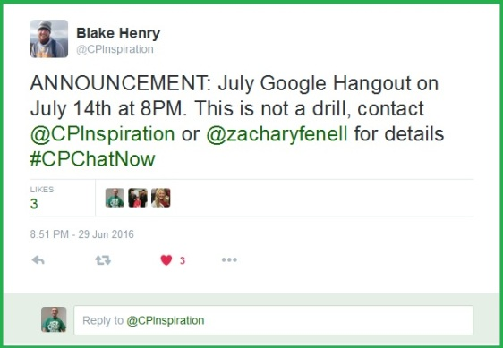 The date for the July 2016 #CPChatNow Google Hangout is announced!