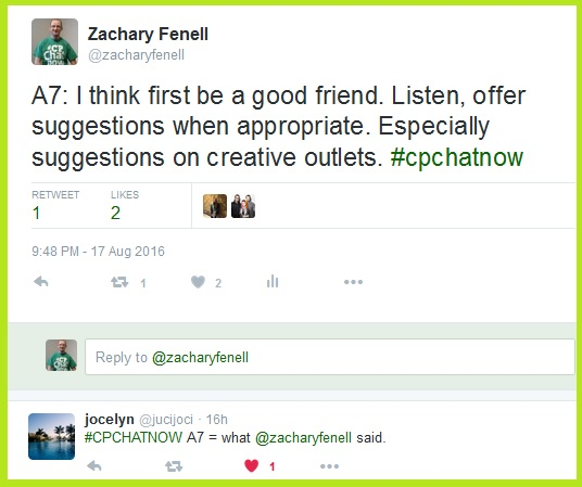 Jocelyn agrees with Zachary we can encourage others to invest in mental health by being a friend, listening, and offering suggestions when appropriate.