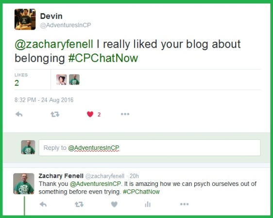 Zachary blogs about life with cerebral palsy at http://zacharyfenell.com