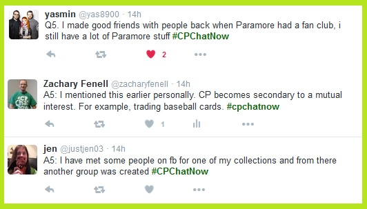 Collections have helped #CPChatNow participants make friends, both online and in real life.