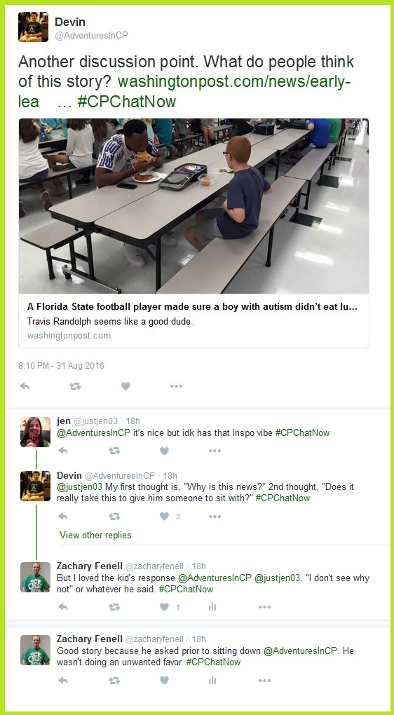 The #CPChatNow community discusses another current event, this one with a Florida State football player.