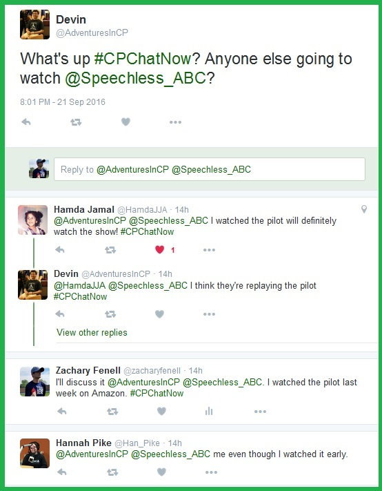 The #CPChatNow community anticipates the Speechless premiere.