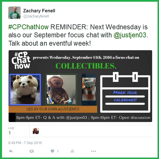 #CPChatNow's own Jen will showcases her expertise in collectibles when she hosts our monthly focus chat Wednesday, September 14th.