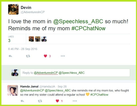 Multiple #CPChatNow community members relate to the mother in Speechless.