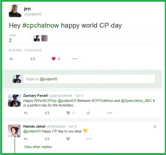 Between #CPChatNow and Speechless October 5th proved a fitting day for World Cerebral Palsy Day.