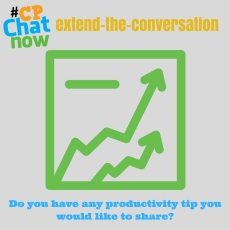 "Answer this week's extend-the-conversation question ""Do you have any productivity tip you would like to share?"""