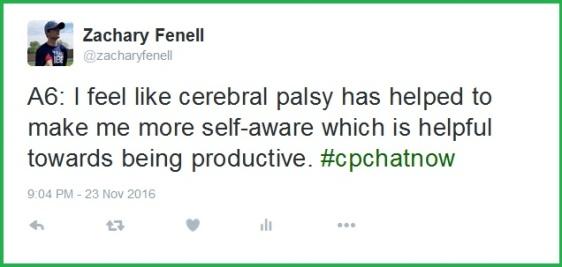 Zachary finds cerebral palsy helps him maximize productivity.