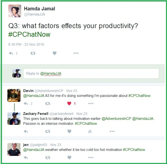 "Hamda asks ""What factors effect your productivity?"""