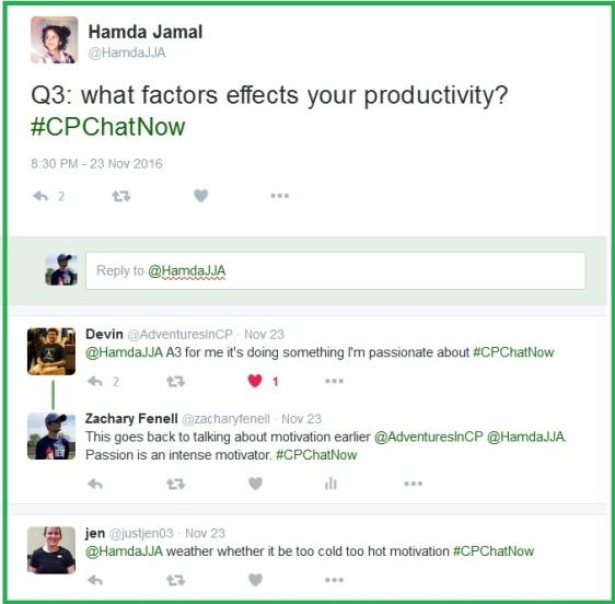 "Hamda asks ""What factors effect your productivity?"""