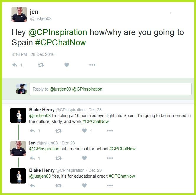 Jen has a question about Blake's Spain trip.