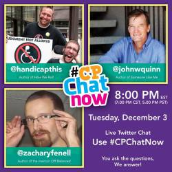 The first #CPChatNow was a special event with Handicap This' Tim Wambach, John W. Quinn, and Zachary Fenell. Your enthusiasm turned the chat into a weekly deal!