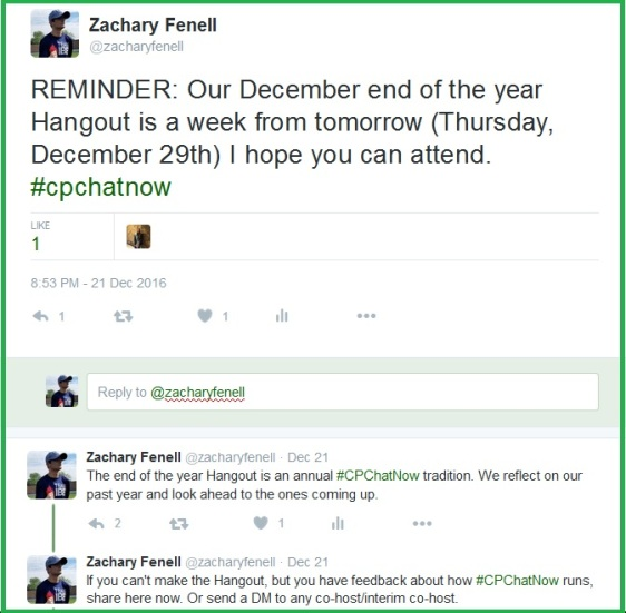 December 2016 #CPChatNow Google Hangout Announcement