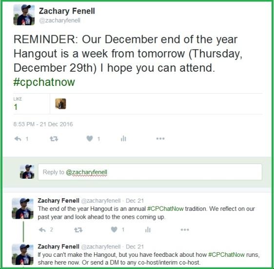 December 2016 #CPChatNow Google Hangout Announcement