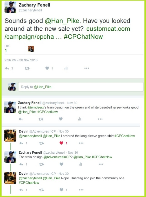 Participants discuss the current #CPChatNow t-shirt and winter apparel sale.