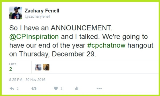 Announcement for #CPChatNow's December 2016 Google Hangout