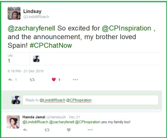 #CPChatNow community members express their excitement for co-host Blake Henry's upcoming adventure.