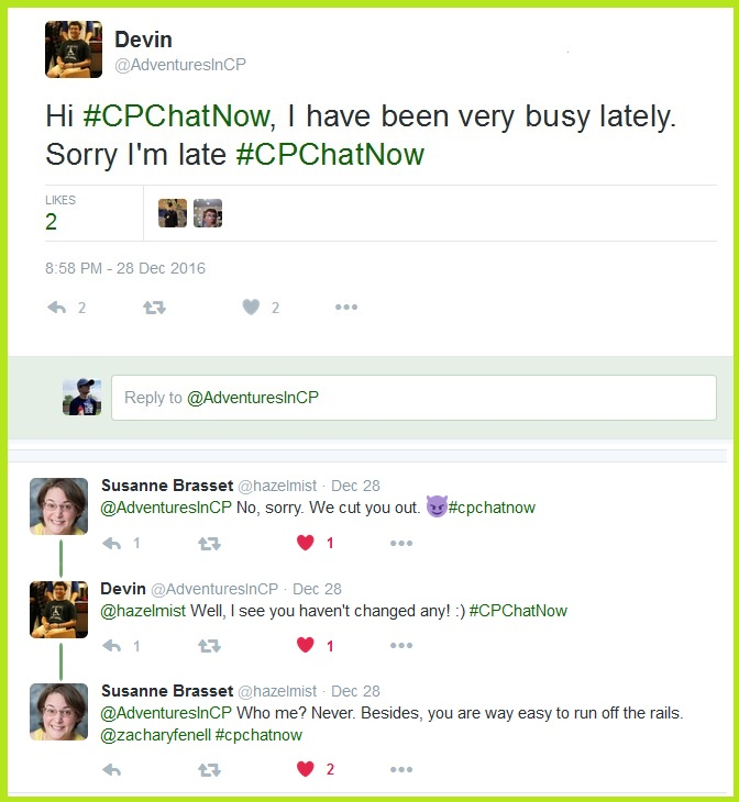 #CPChatNow participants engage in friendly banter.