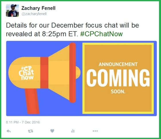 Zachary promises to reveal details for the December 2016 focus chat at 8:25pm ET.