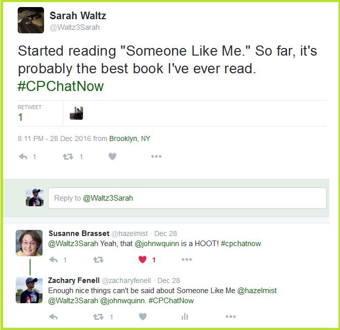 #CPChatNow community members praise Someone Like Me by John W. Quinn