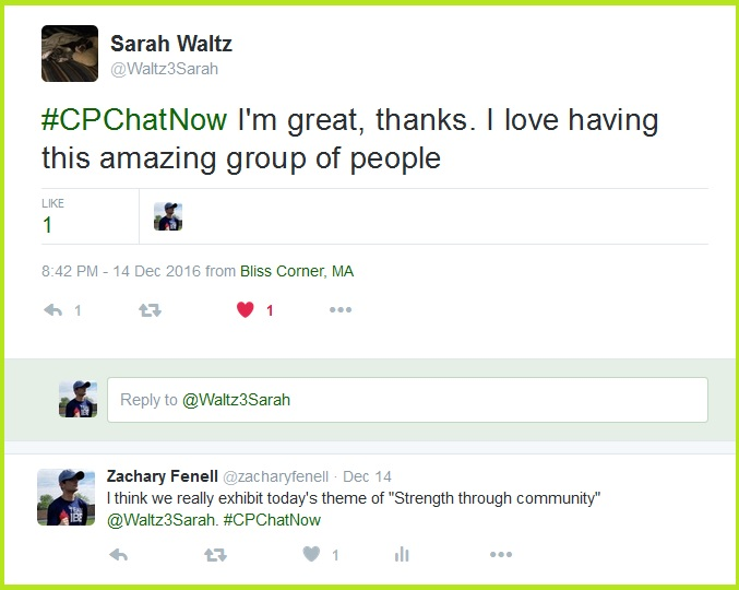 Sarah professes her admiration for #CPChatNow.