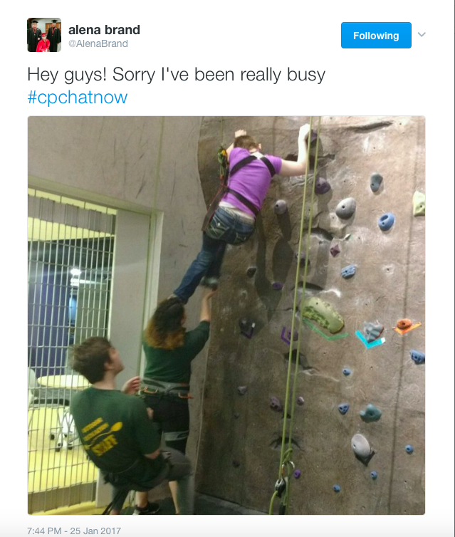 Alena Brand Tweet: Hey guys! Sorry I've been really busy! #CPChatNow Image of Alena Rockclimbing