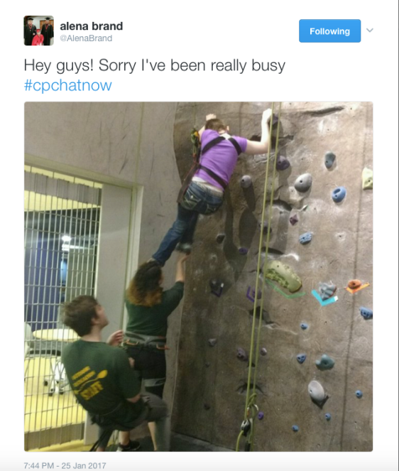 Alena Brand Tweet: Hey guys! Sorry I've been really busy! #CPChatNow Image of Alena Rockclimbing