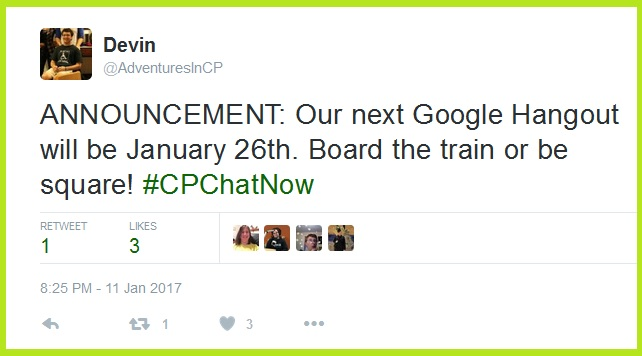 Join #CPChatNow for a video chat via Google Hangouts Thursday, January 26th starting at 8pm ET.