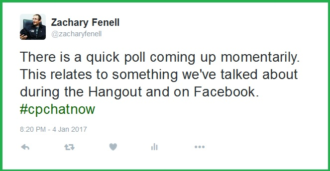 Co-host Zachary Fenell calls attention to an upcoming poll.