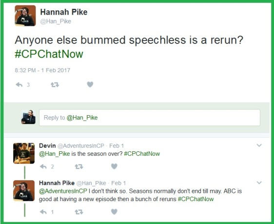 Hannah is bummed to find Speechless a repeat.