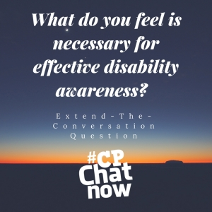 Picture of a sunset. White letters: What do you feel is necessary for effective disability awareness? Extend-The-Conversation Question White #CPChatNow logo
