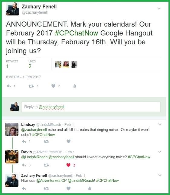 #CPChatNow's February 2017 Google Hangout will be Thursday, February 16th.