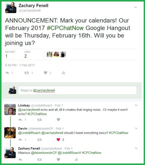 #CPChatNow's February 2017 Google Hangout will be Thursday, February 16th.