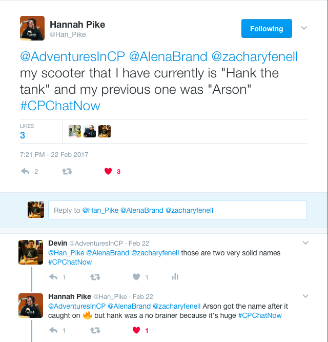 """Hannah talking about her scooter names """"Hank the Tank"""" and Arson"""