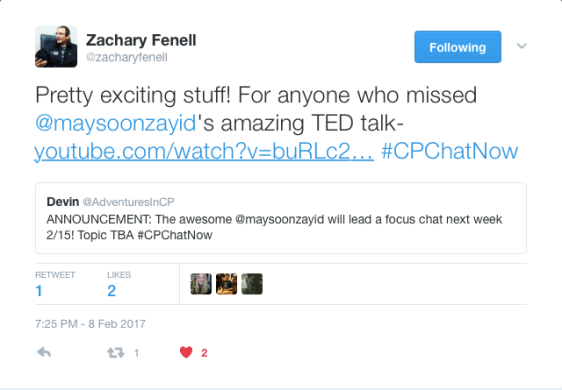 Zachary Fennell announces Maysoon Zayid will be leading a focus chat on 2/15