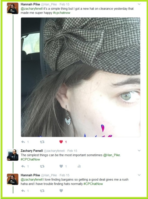 Hannah Pike reminds #CPChatNow that you can find joy from the simpliest items, like buying a new hat!