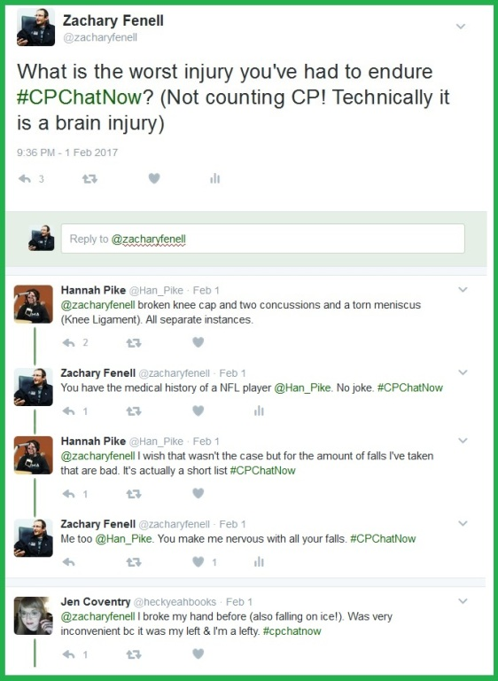 #CPChatNow participants recall the worst injuries they have endured.