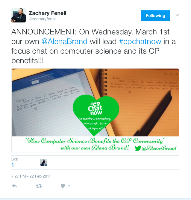 Zach announces Alena's focus chat on Computer Science and CP on March 1st