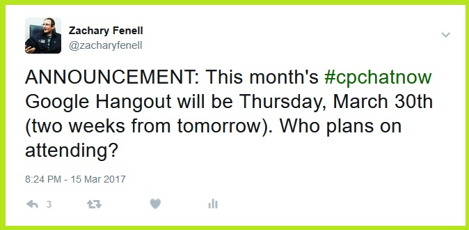 #CPChatNow's March 2017 Google Hangout will happen Thursday, March 30th at 8pm ET.