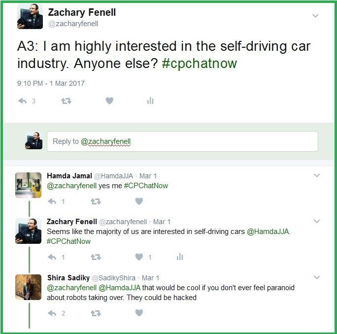 Co-host Zachary Fenell and others also express interest in self-driving cars.