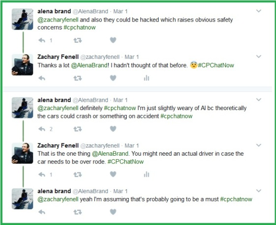 Alena addresses some safety concerns with self-driving cars.